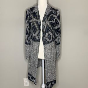 Almost Famous l Grey Aztec Duster Cardigan